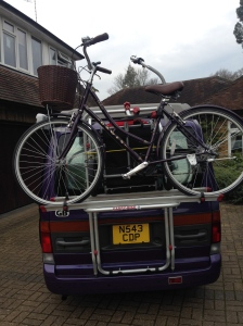 The bike and trailer loaded up for the first time
